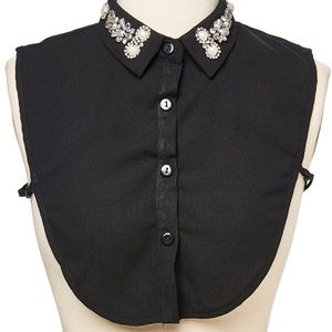 Black Embellished Collar Button Up Dickey